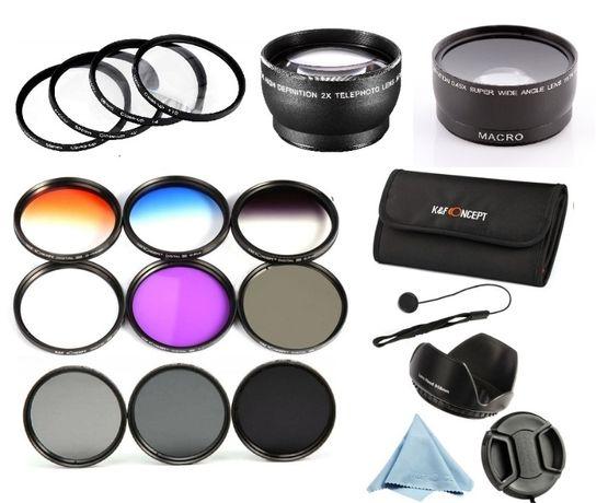 Комплект 13 филтъра 2 конвертора UV CPL FLD 3 градиентни 3 ND + сенник