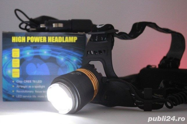 Lanterna Frontala LED 5W cu Zoom si Acumulatori 12V 220V