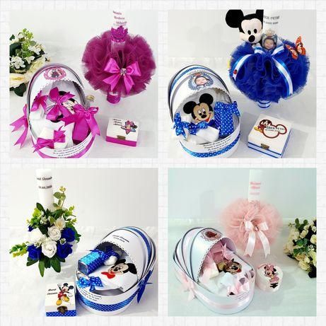 Set pentru botez,lumanare si trusou,personalizate, Mickey si Minnie