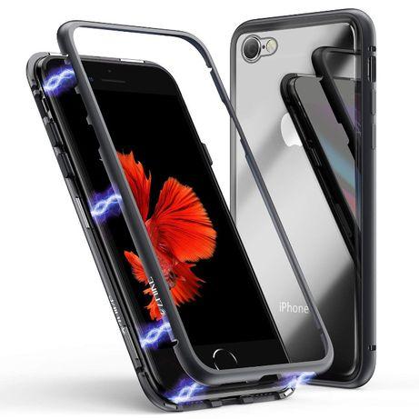 Husa bumper iPHONE 8, 7, SE 2 magnetic 360 + folie sticla spate,CaseMe