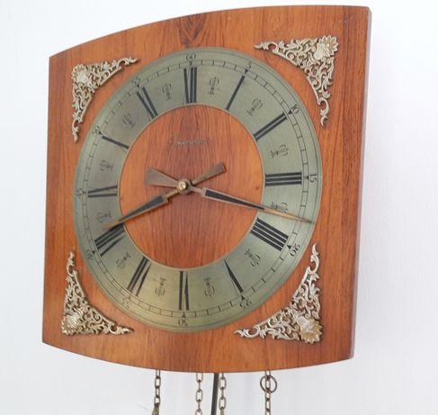 KIENINGER-pendula de perete din lemn cu ornamente metalice,functionala