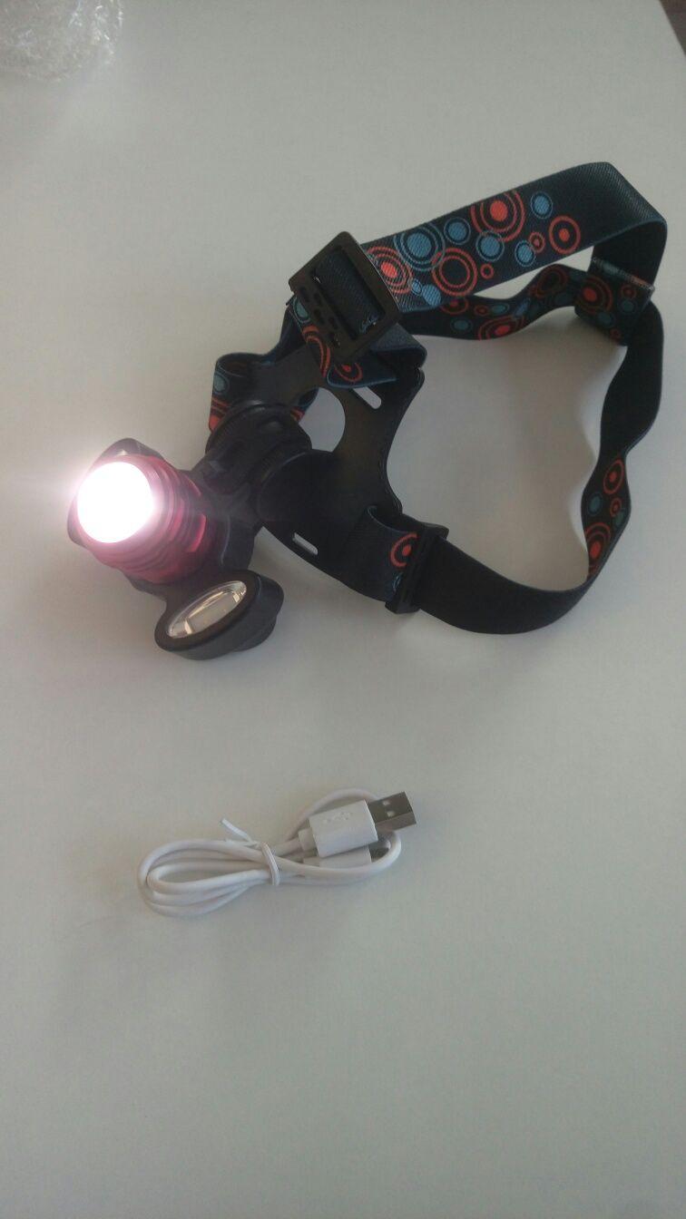 Lanterna de cap cu acumulator 18650.
