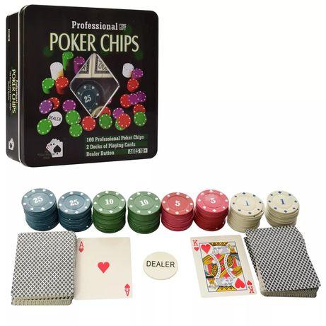 Набор для игры покер. Poker game.  Покер 100 фишек и 2 колоды карта.
