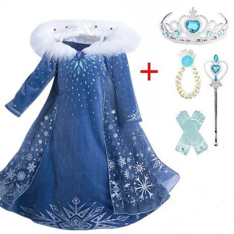 Seturi rochite Elsa+ manusi, sceptru, coronita, codita,