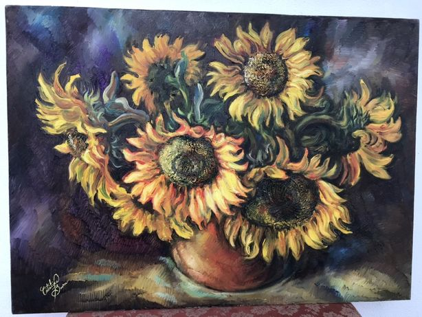 Tablou in ulei - Carafa cu floarea soarelui