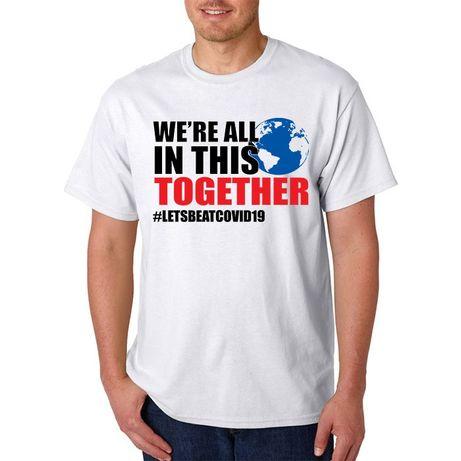 Tricouri imprimate cu mesaje TOGETHER #LETSBEATCOVID19
