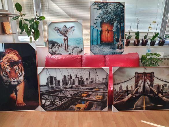 Картини рисувани на  закалени стъкла,внос Япония,5бр по 450лв за 1бр
