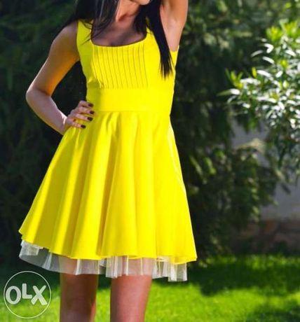 Къса жълта рокля DP Moda