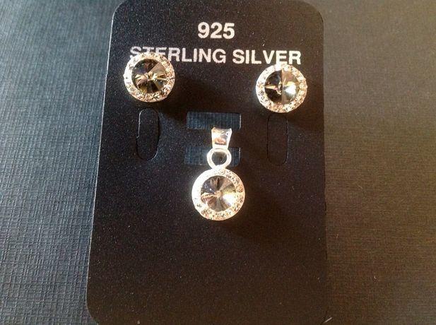 Cercei si medalion din argint 925 cu cristale si cuart fumuriu