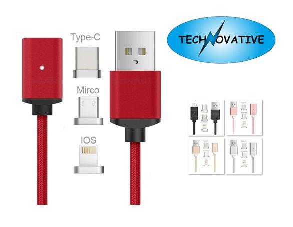 USB кабел за телефон с магнитни накрайници micro USB TypeC iOS