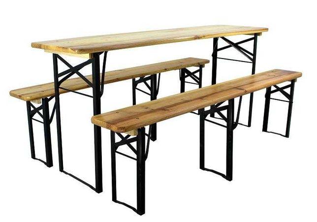 Set mobilier gradina/berarie lemn brad, masa 46x180 cm, 2 banci