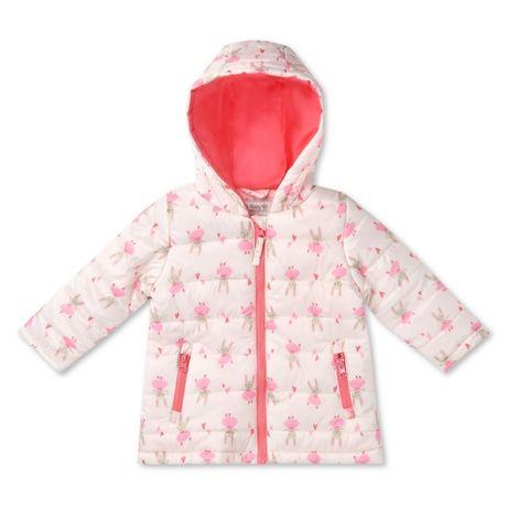 Осень Весна Куртка на 1-1,5 2 года одик бело розовая флис внутри