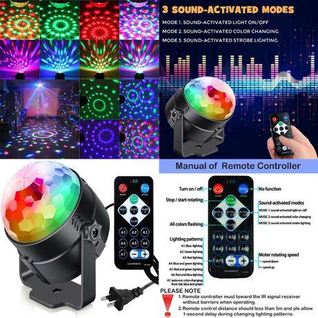 Proiector Laser Disco cu Senzor de Sunet, LED RGB, Revelion 2021 Nou!