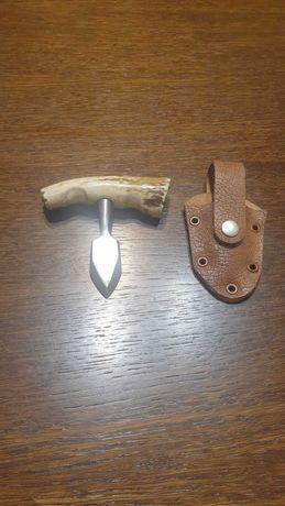 Острие нож за самозащита еленов рог сребърна английска монета кания