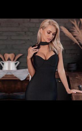 Vand rochie bandage negru dantela model mou superb marime M herve
