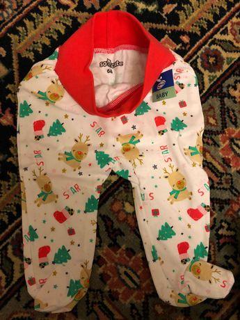 Pantaloni cu sosete model Craciun bebe Marime 68 nou, eticheta