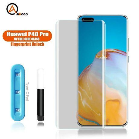 UV NANO Стъклен протектор за Huawei P40 Pro с течно лепило / 3D 5D