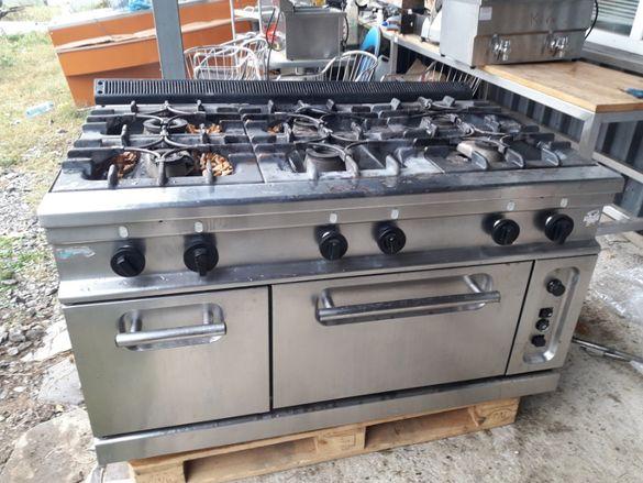 Професионална газова печка с топъл шкаф