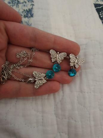 Set splendid swarovski fluturi cercei si colier bijuterii