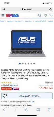 Laptop ASUS X542UF-DM005 cu procesor Intel® Core™ i7-8550U pana la 4.0