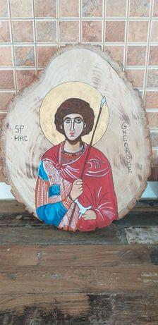 Icoana Sf Gheorghe pictata pe lemn