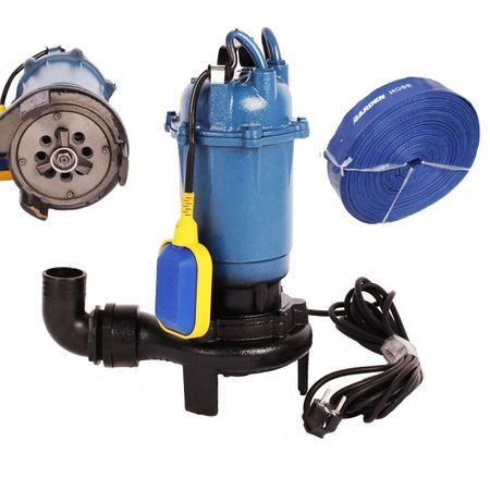 Set Pompa cu tocator apa murdara 3750W, 12000 L/H + Furtun 2 toli 50m,