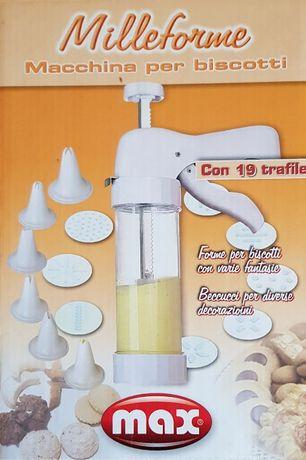 Pistol pentru biscuiți și ornarea prăjiturilor, cu 19 accesorii, Alb