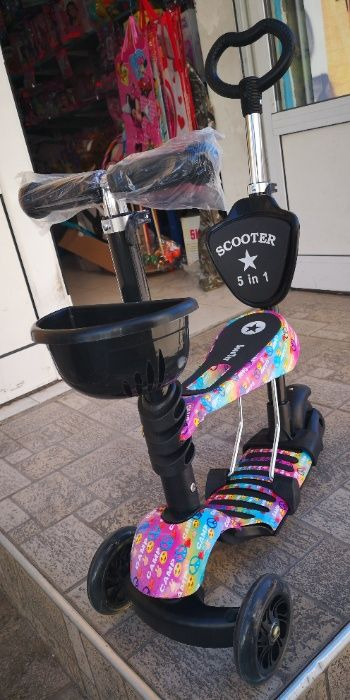 Тротинетка 5в1 със седалка с дръжка за бутане