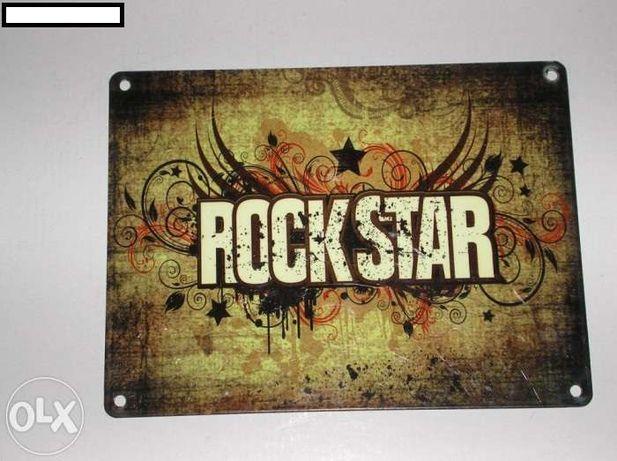 Set 2 pancarte metalice noi pentru bar/pub/cafenea ROCKSTAR uk !
