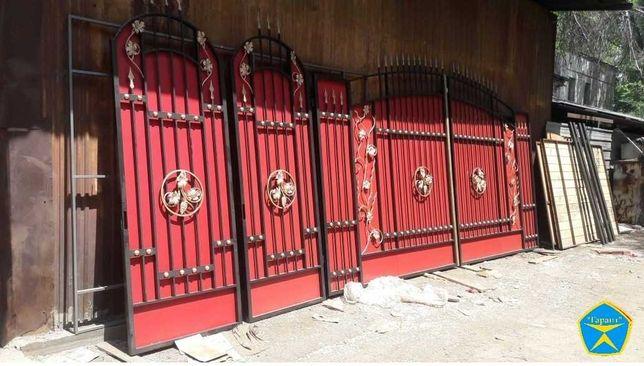 """Распашные ворота """"Флоренция""""(откатные),заборы усиленные из профнастила"""