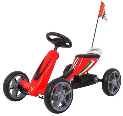 Kart cu pedale pentru copii FERRARI, culoare Rosu