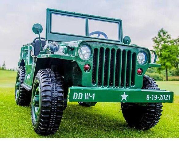 Masinuta electric AMERICAN Jeep Army 4X4 PENTRU 3 COPII #Green