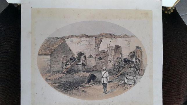 Litografie englezeasca, semnata, datand din anul 1858