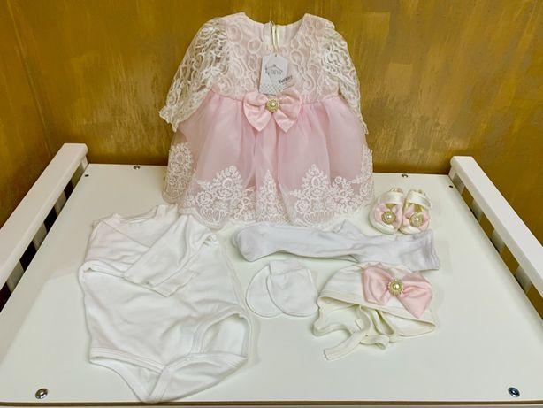 Нарядное детское платье 0-3 месяца