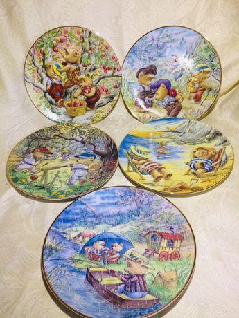 серия детски колекционерски порцеланови чинии за стена с мечета 1