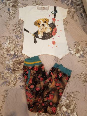 Pantaloni din catifea+tricou nou, 6-7 ani,ambele la doar 45 lei