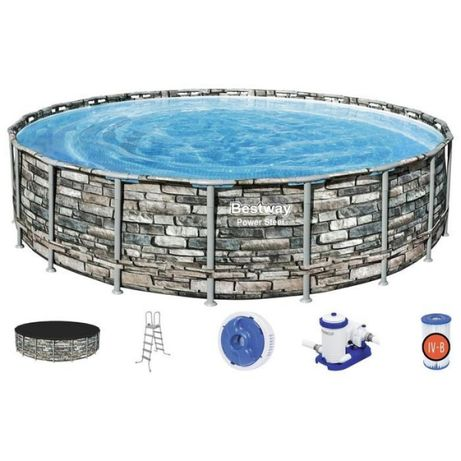 Бассейн каркасный Power Steel, 610 x 132 см, фильтр-насос, тент, лестн