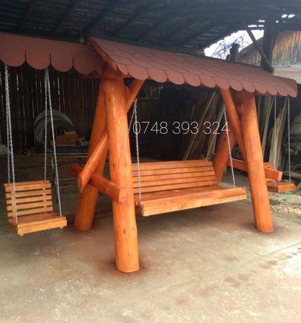 Balansoar  lemn  cu 2 leagăne copil rustic