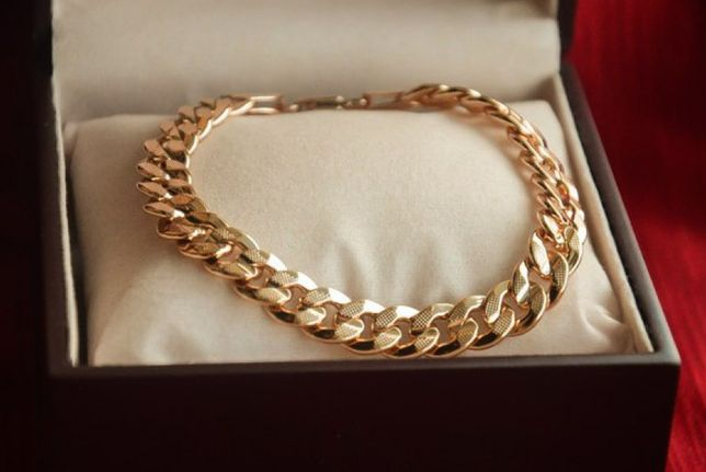 Роскошный мужской браслет с с 3-х слойным золотым напылением