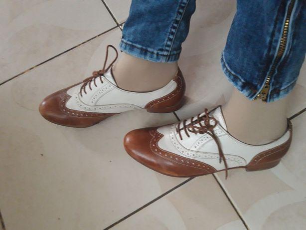 Pantofi piele oxford 37 maro cu alb