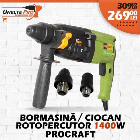 Bormasina Ciocan Rotopercutor ProCraft 1400W 2x Mandrine SDS+