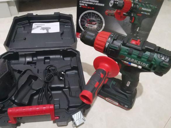 Нов 20V Ударен акумулаторен винтоверт Parkside Метален Патрон +Куфар