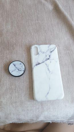 Чехол на iPhone X/Xs мраморной расцветки и с Попсокетом