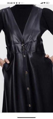 Продам кожаный сарафан Zara