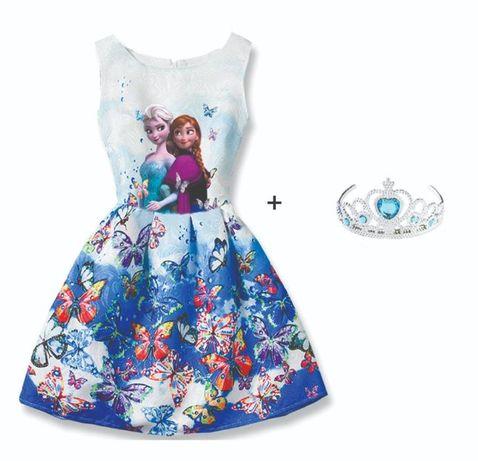 Промоция! лятна рокля с елза и ана + подарък коронка