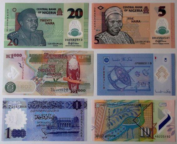 Lot 6 bancnote polimer Nigeria Malaezia Zambia Libia Macedonia UNC