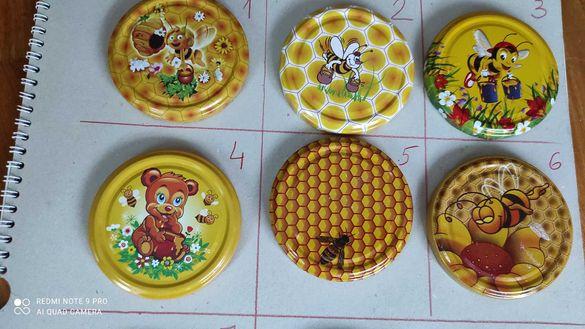 Капачки за буркани 720мл-ф82 с лого пчелен мед
