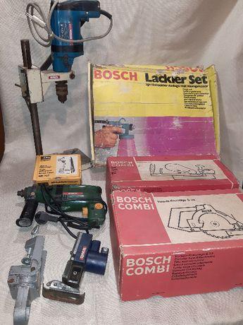 Дрелка и стойка за бормашина BOSCH с различни приставки на BOSCH и AEG