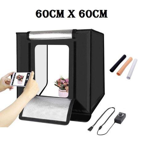 Lightbox portabil 60cm - cub foto cu led incorporat pentru fotografie