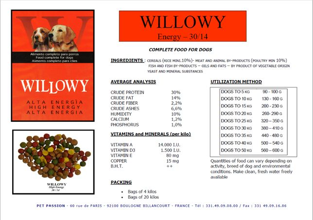 Hrana caini WILLOWY High Energy Miel si Orez 20 Kg ( 30% proteina )